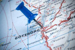 destination GAteborg Sweden on the map